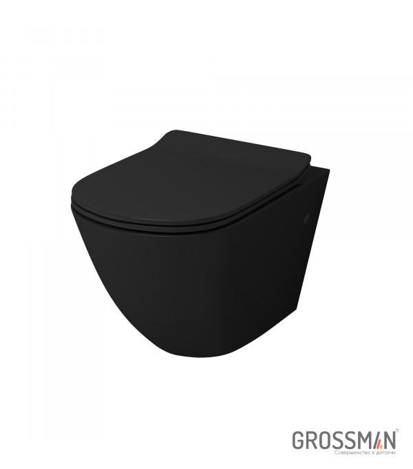 Унитаз подвесной Grossman GR-4411B черный с тонкой крышкой